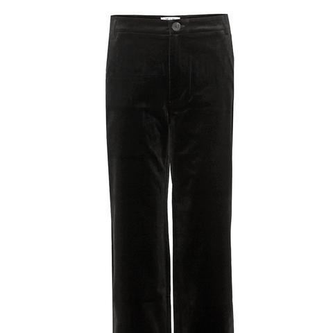 Black Cropped Velvet Trousers