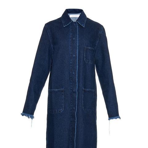 Oversized Frayed-Edge Denim Coat