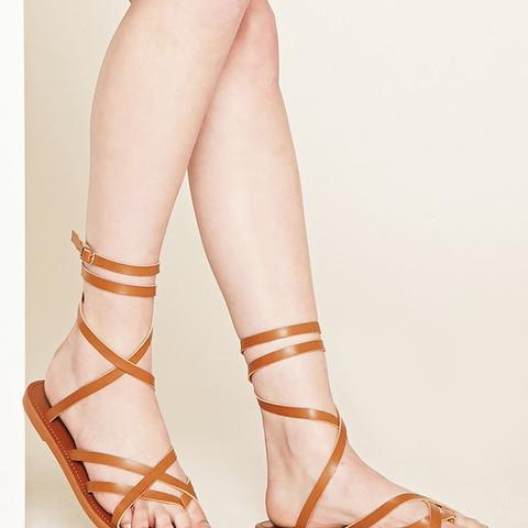 Crisscross Faux Leather Sandals