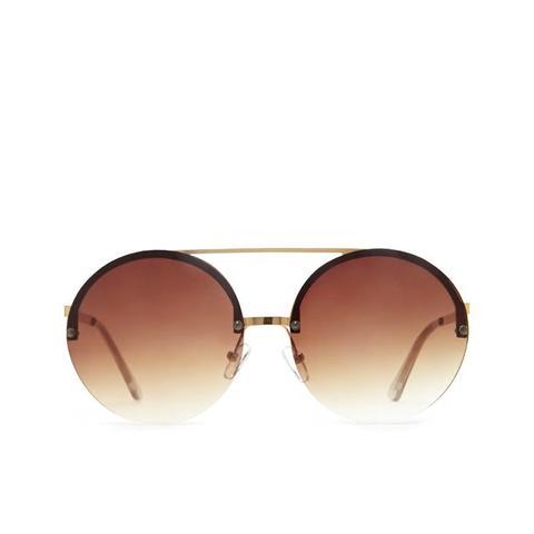 Brow-Bar Round Sunglasses