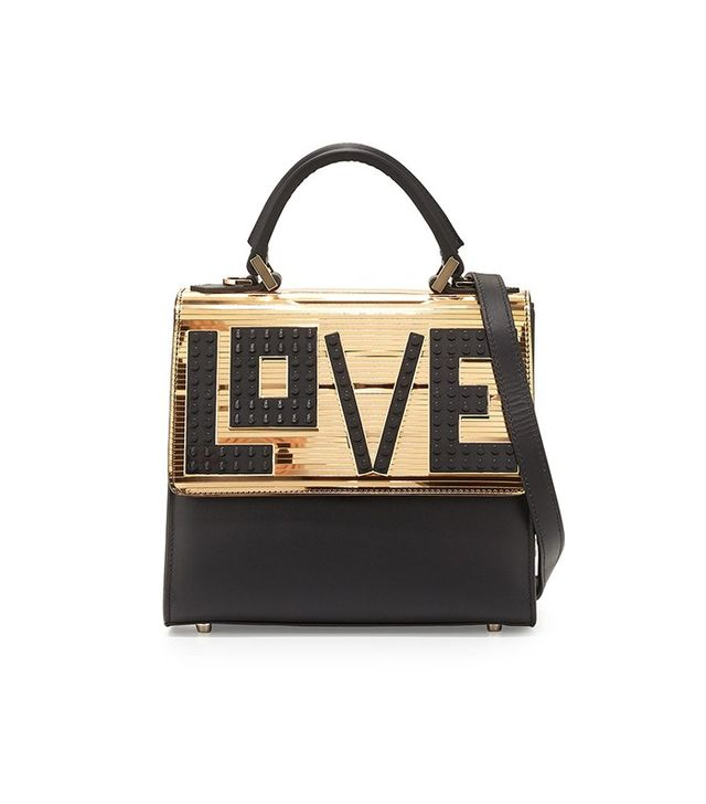 Les Petits Joueurs Alex Mini Black Widow Shoulder Bag, Black/Gold