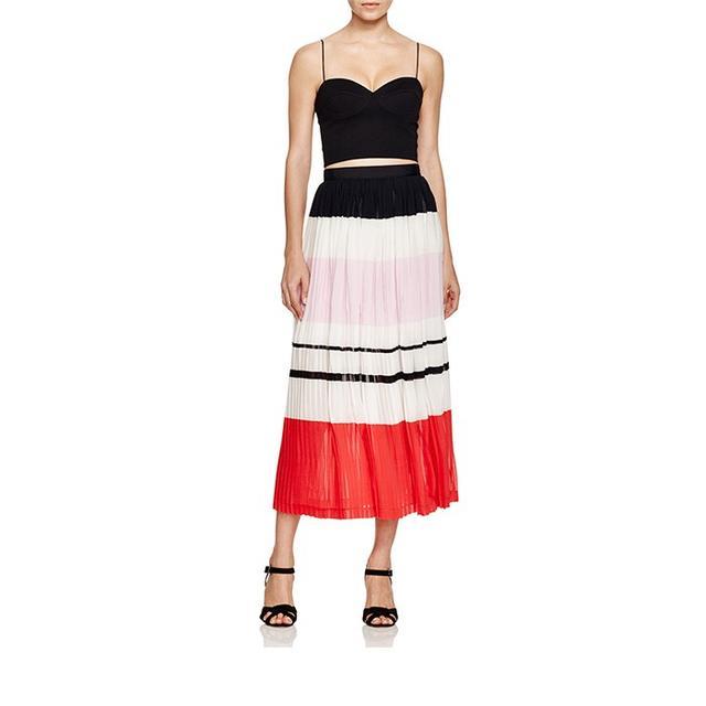 N Nicholas Pleated Stripe Skirt