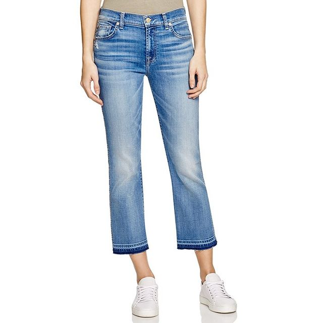 7 for All Mankind Cropped Boot Jeans in Bright Indigo