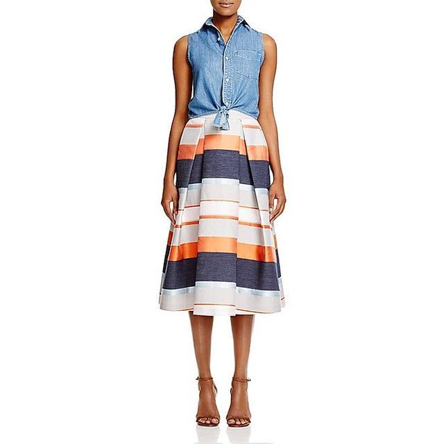 Whistles Striped Jacquard Midi Skirt