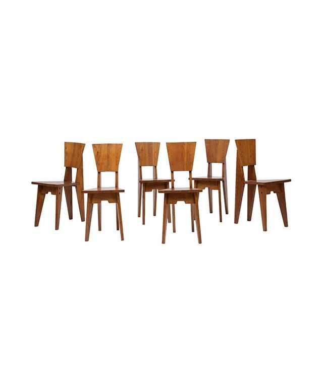 Jean-René Caillette Set of Six Wooden Chairs