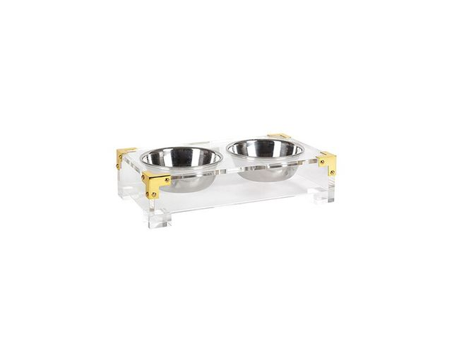 Jonathan Adler Lucite & Brass Dog Bowl