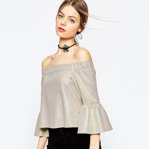Gold Metallic Structured Off Shoulder Top