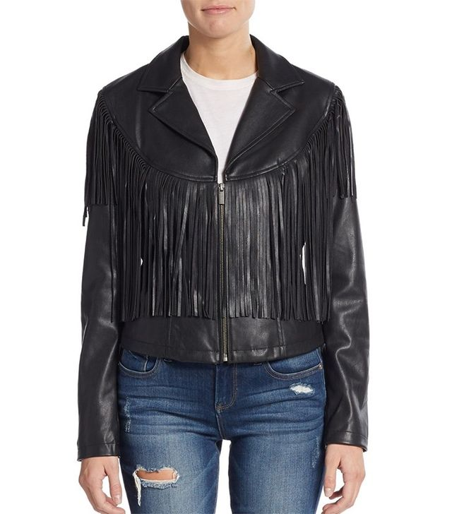 Bagatelle Fringe Faux Leather Jacket