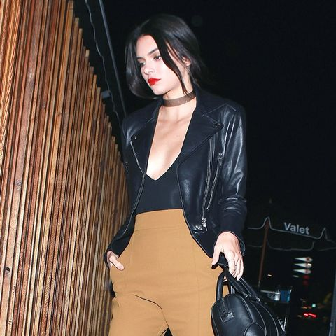 Kendall Jenner, Leather Jacket, Pants, Bodysuit, Sneakers, Outfit, Style