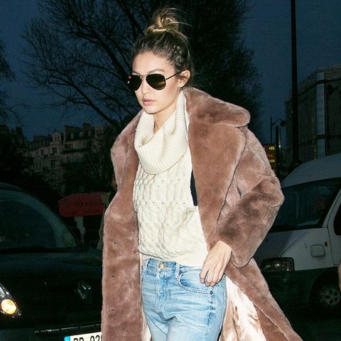 Gigi Hadid, Coat, Sweater, Jeans, Heels, Outfit, Street Style