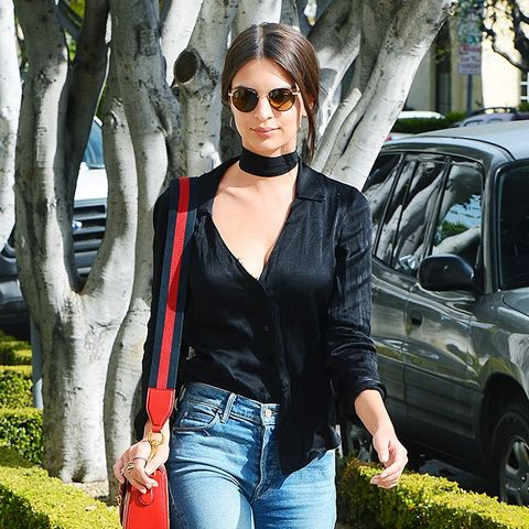 Emily Ratajkowski, Choker, Top, Jeans, Boots, Outfit, Street Style