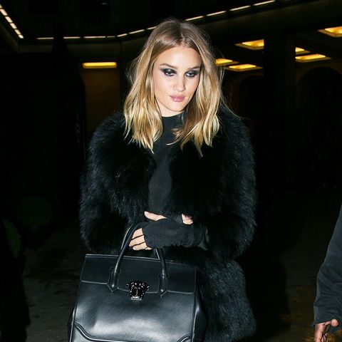 Rosie-Huntington-Whitely, Coat, Leather Leggings, Bag, Boots, Outfit, Street Style