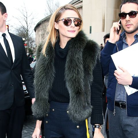 Olivia Palermo, Fashion Week, Street Style, Vest, Pants, Sunglasses, Bag, Sweater, Outfit