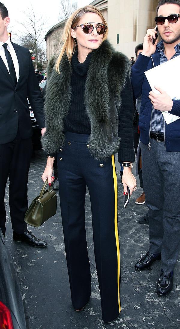 4. Furry Vest + Black Turtleneck Sweater + Striped Pants