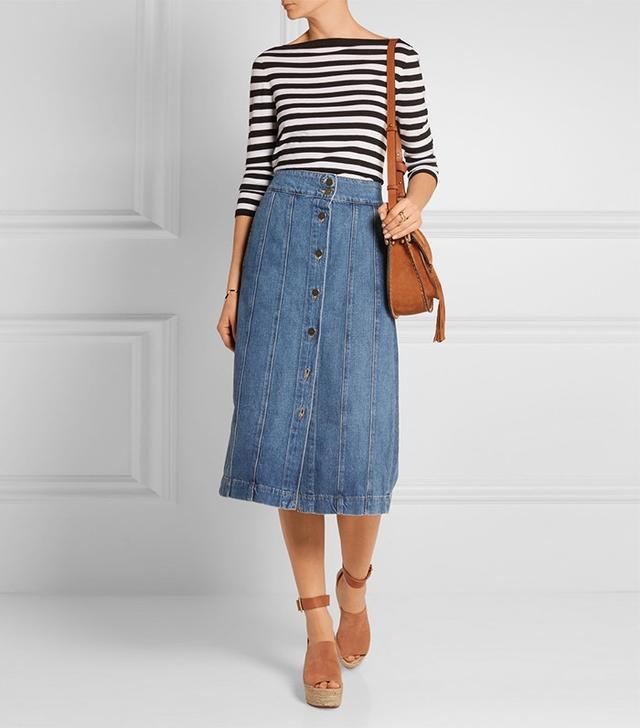 Frame Denim Le Panel Denim Skirt