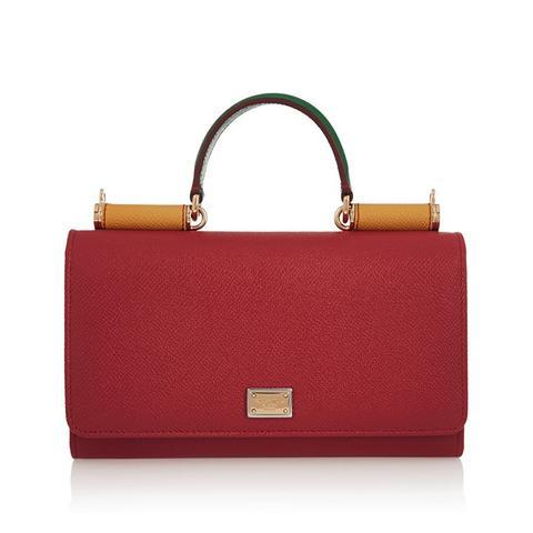 Lipstick Textured-Leather Shoulder Bag