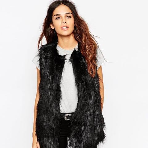 Vintage Longline Faux Fur Gilet
