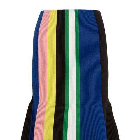 Striped Ribbed Merino Wool Skirt