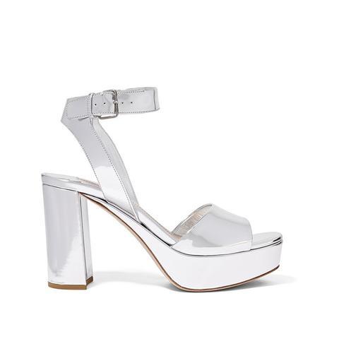 Mirrored-Leather Platform Sandals