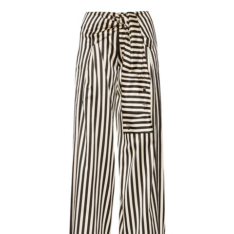 Striped Duchesse Silk-Satin Wide-Leg Pants