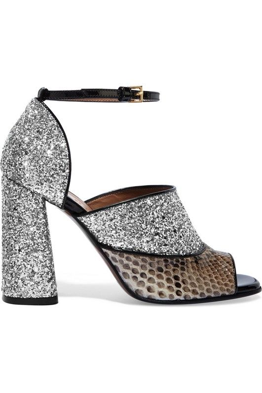 Marni Glittered Snake-Effect Leather Sandals