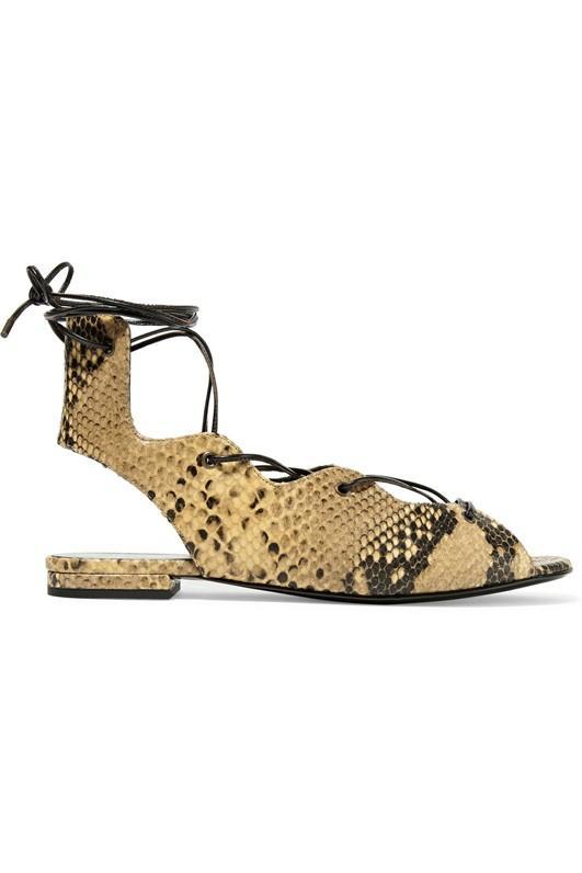 Saint Laurent Lace-Up Snake-Effect Leather Sandals