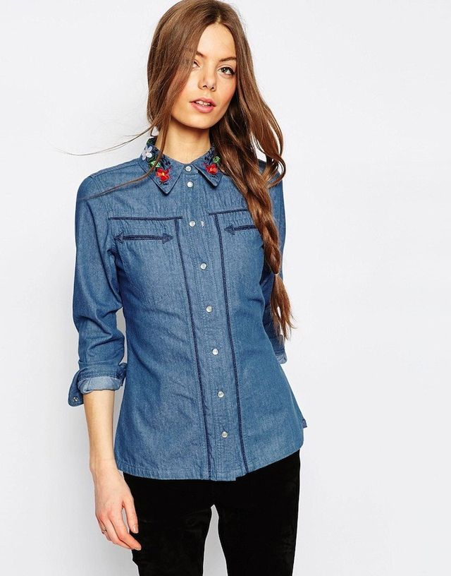 ASOS Denim Shirt With Embroidered Collar in Mid Wash