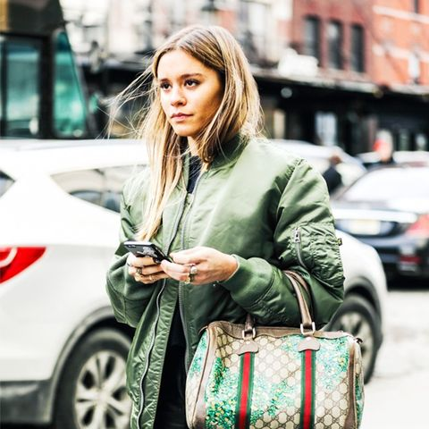How To and What to Wear With a Bomber Jacket: Street Style Khaki And Leather Look
