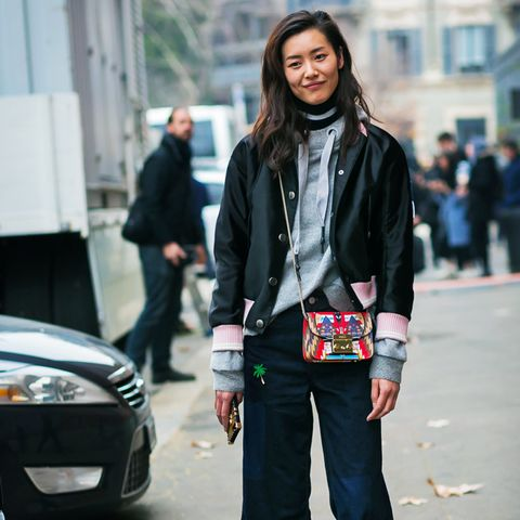 How To and What to Wear With a Bomber Jacket:  Liu Wen