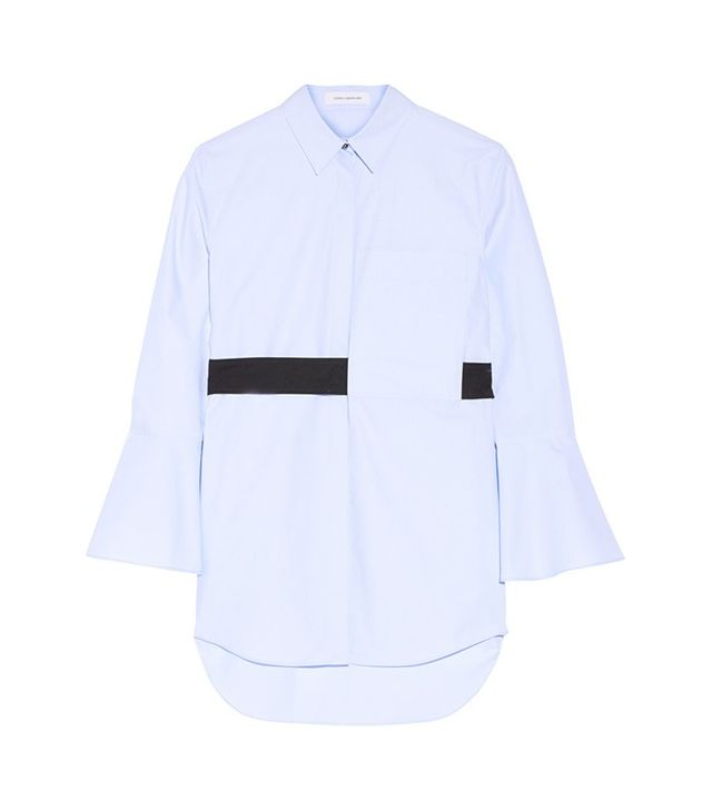 Cedric Charlier Oversized Belted Cotton-Poplin Shirt