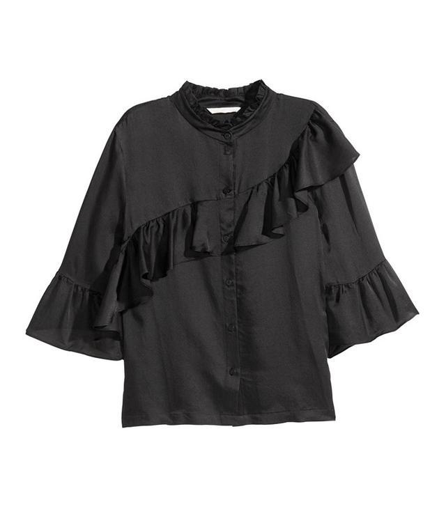H&M Ruffled Silk-Blend Blouse