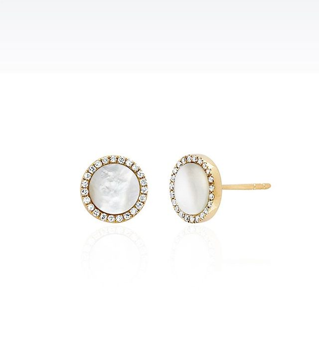 EF Collection Mother of Pearl Diamond Disc Studs