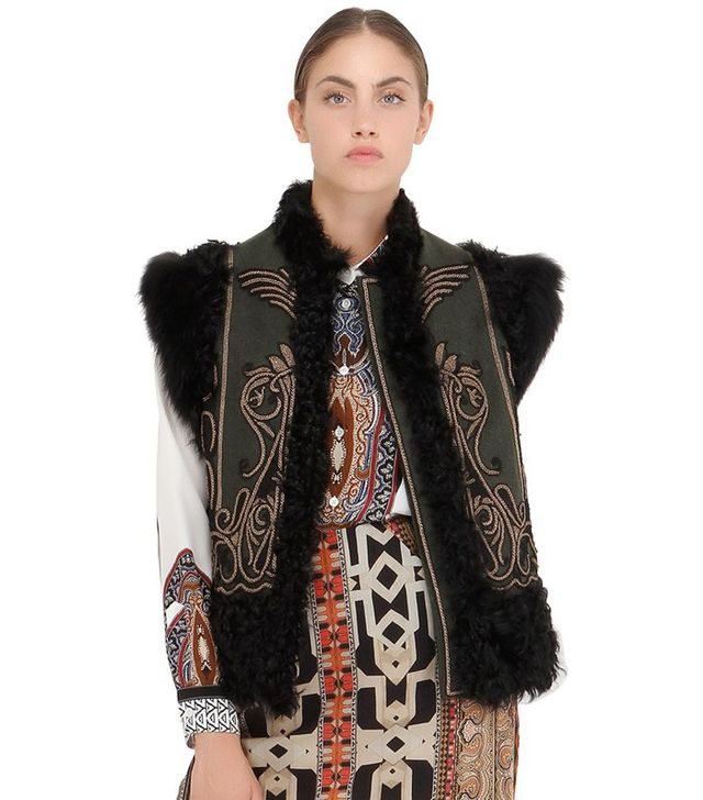Êtro Embroidered Shearling & Wool Vest