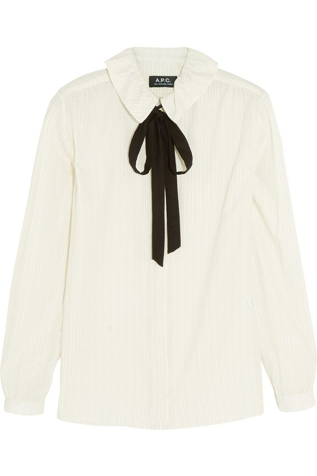 A.P.C. Pussy-Bow Printed Cotten-Crepe Shirt
