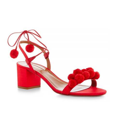 Pom Pom Lace-Up Sandal
