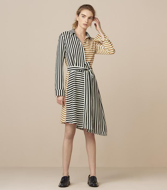 Finery Akerman Cut About Stripe Belted Shirt Dress