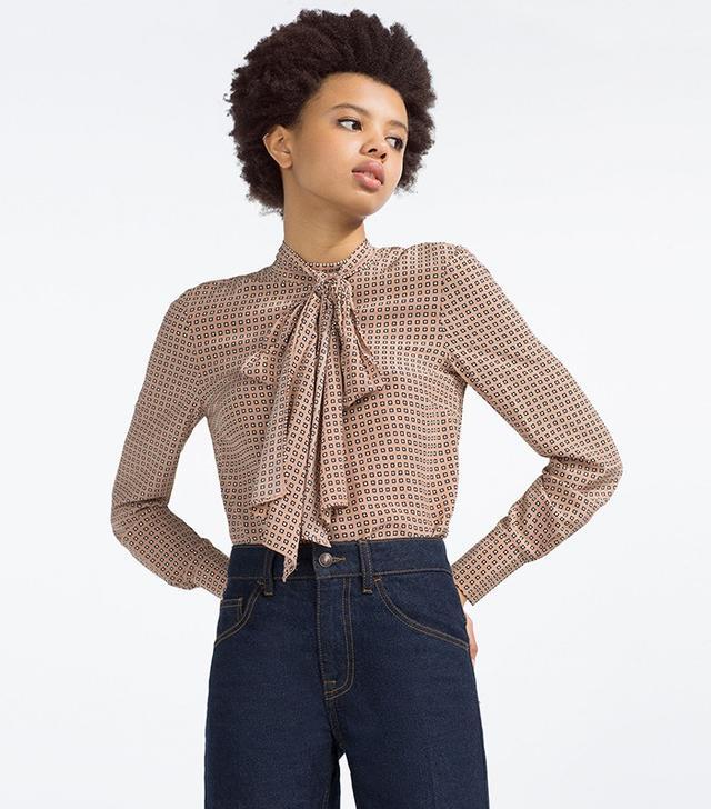 Zara Printed Tie-Neck Blouse