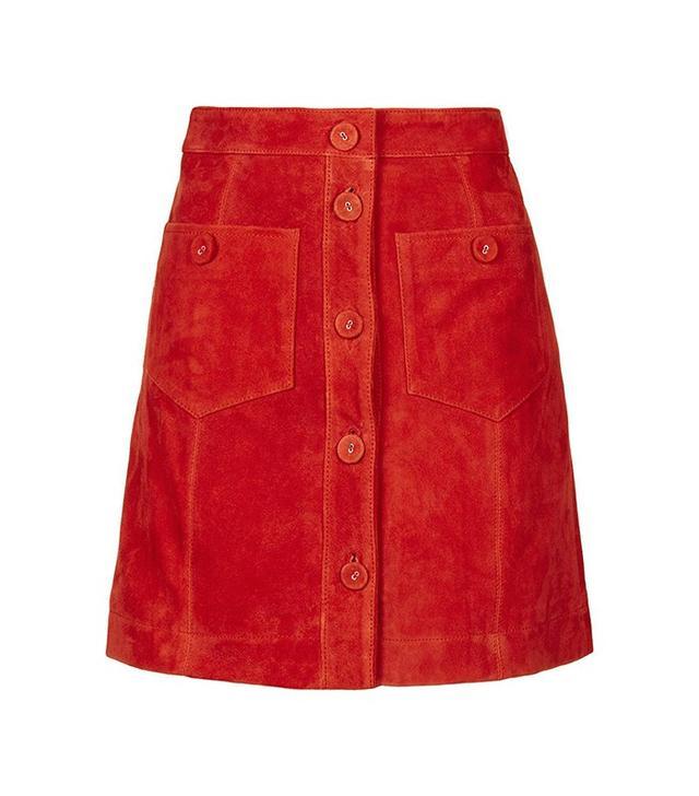 Topshop Suede Button Skirt