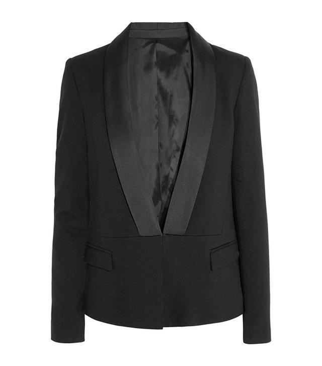 Karl Lagerfeld Nadya Satin-Trimmed Stretch-Pique Blazer