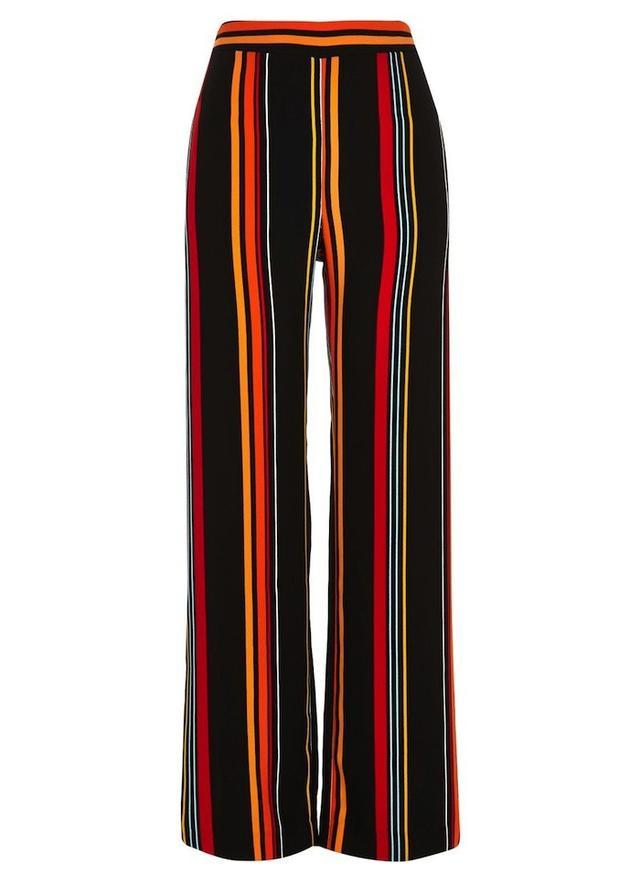 River Island Black Stripe High Waisted Wide Leg Pants