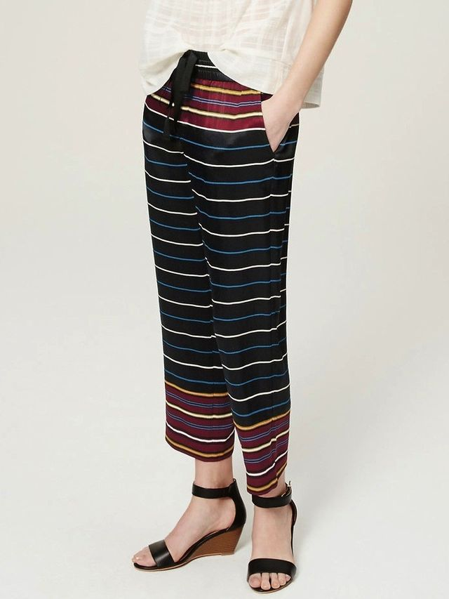 Loft Cropped Striped Fluid Pull-On Pants