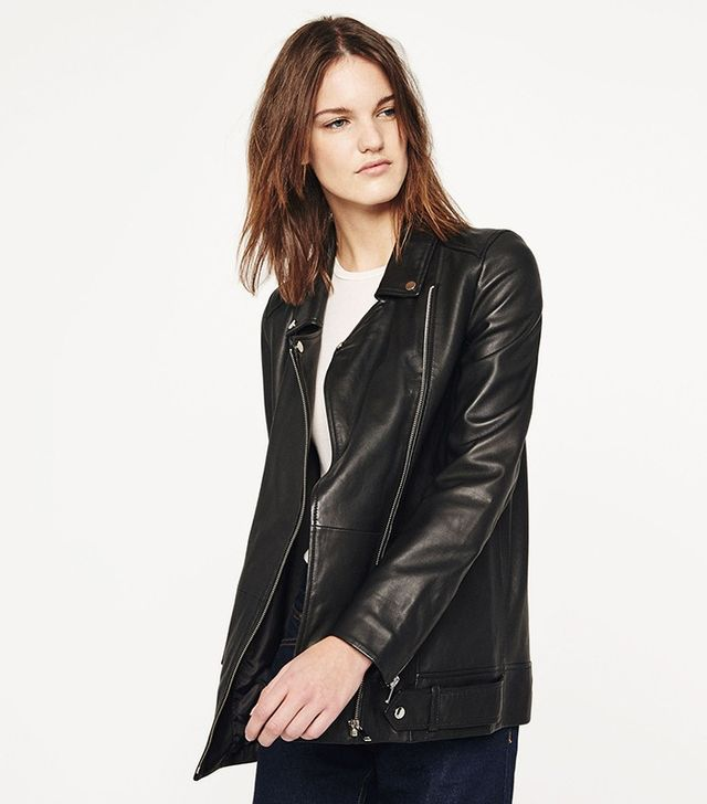 Zara Long Leather Moto