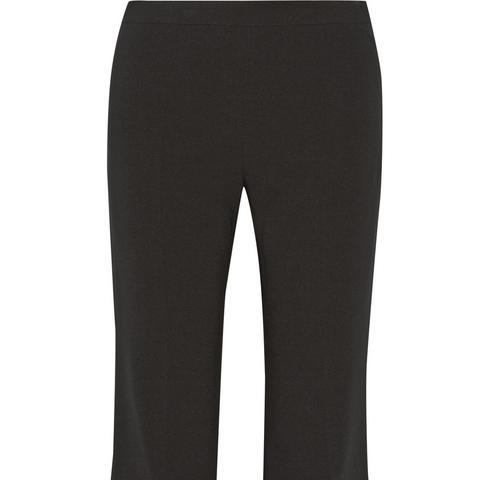 Satin-Paneled Crepe Wide-Leg Pants