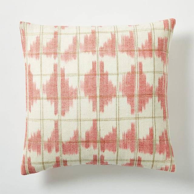 West Elm Ikat Grid Cushion Cover - Poppy