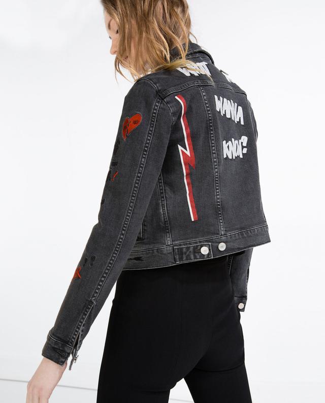 Zara Embroidered Denim Jacket With Pins