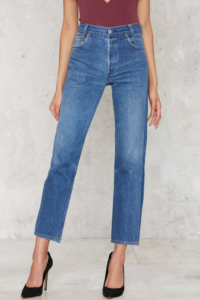 Nasty Gal After Party Vintage Like a Badass 501 Jeans in Shadow