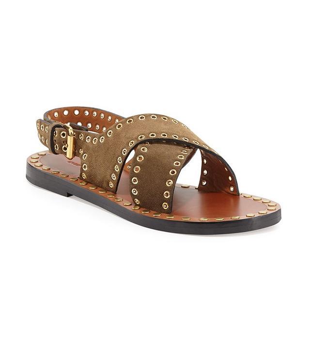 Isabel Marant Jane Suede Grommet Flat Sandals