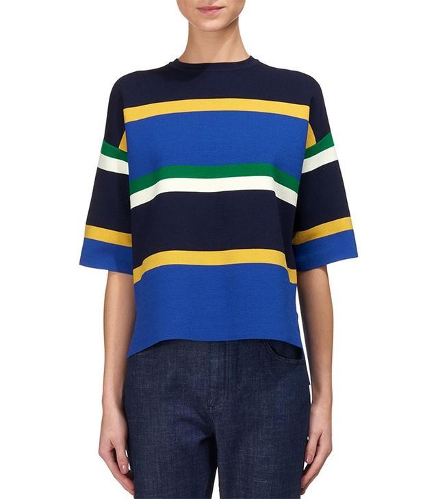 Whistles Darwin Stripe Zip Back Knit