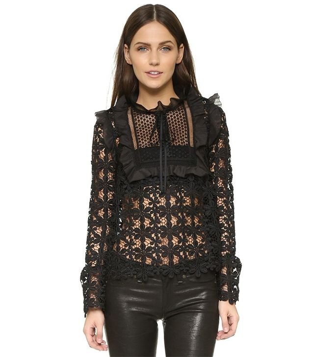 Self-Portrait Balloon Sleeve Lace Top