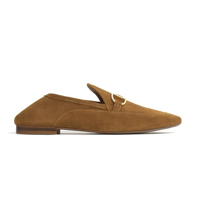 Zara Leather Loafers With Buckle